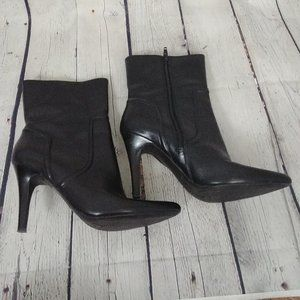 NINE WEST Black Leather Heeled Low Boots Booties 9